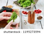 florist at work  how to make... | Shutterstock . vector #1195273594