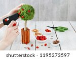 florist at work  how to make... | Shutterstock . vector #1195273597