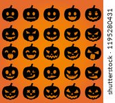 big set black pumpkin on orange ... | Shutterstock .eps vector #1195280431