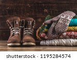 knitted  winter  folded... | Shutterstock . vector #1195284574