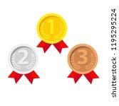 gold  silver  bronze medals set.... | Shutterstock .eps vector #1195295224