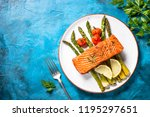 grilled salmon fish fillet with ... | Shutterstock . vector #1195297651