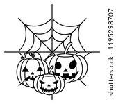 happy halloween pumpkins with... | Shutterstock .eps vector #1195298707
