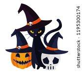 halloween black cat with... | Shutterstock .eps vector #1195300174