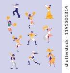 goalkeeper football and women... | Shutterstock .eps vector #1195301314