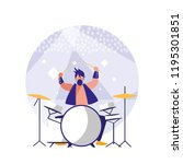 man playing drums avatar... | Shutterstock .eps vector #1195301851