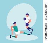 young men practicing football... | Shutterstock .eps vector #1195302484