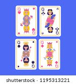 playing cards set of queens in... | Shutterstock .eps vector #1195313221