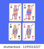 playing cards set of kings in... | Shutterstock .eps vector #1195313227