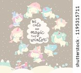 collection of funny unicorn on... | Shutterstock .eps vector #1195315711