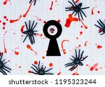black spiders and keyhole on a... | Shutterstock . vector #1195323244