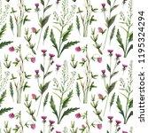 watercolor seamless herbs... | Shutterstock . vector #1195324294