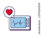 heart cardiology with ekg... | Shutterstock .eps vector #1195324354