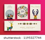 merry christmas folk art... | Shutterstock .eps vector #1195327744