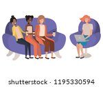 women sitting on sofa with... | Shutterstock .eps vector #1195330594