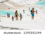 pamukkale. turkey.june 7  2018... | Shutterstock . vector #1195331194