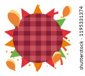 checkered label with balloons... | Shutterstock .eps vector #1195331374