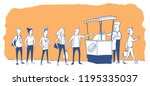 people stand in line to a stall ... | Shutterstock .eps vector #1195335037
