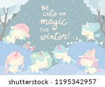 funny unicorns in snow forest.... | Shutterstock .eps vector #1195342957
