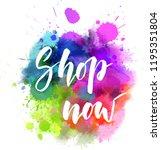 shop now   handwritten modern... | Shutterstock .eps vector #1195351804