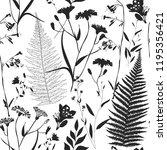 herbarium monochrome seamless...   Shutterstock .eps vector #1195356421