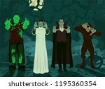 monster set halloween theme... | Shutterstock .eps vector #1195360354