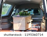 closeup shot of a funeral... | Shutterstock . vector #1195360714