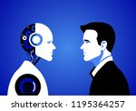 humans vs robots. concept... | Shutterstock .eps vector #1195364257