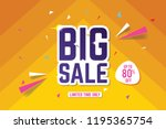 big sale banner template. sale... | Shutterstock .eps vector #1195365754