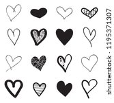 heart hand drawn icons set... | Shutterstock .eps vector #1195371307