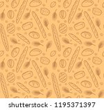 seamless pattern with breads... | Shutterstock . vector #1195371397