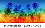 rainbow colors palms... | Shutterstock . vector #1195371481
