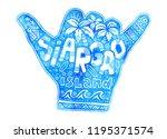 blue watercolor shaka hand... | Shutterstock . vector #1195371574