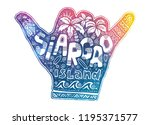 colorful shaka hand symbol with ... | Shutterstock . vector #1195371577