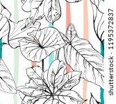 tropical  modern stripes motif. ... | Shutterstock .eps vector #1195372837