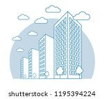 city view with high buildings ... | Shutterstock .eps vector #1195394224