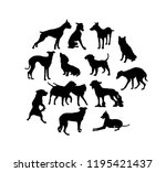 Stock vector dog silhouettes art vector design 1195421437