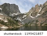 emerald lake with the hallett... | Shutterstock . vector #1195421857
