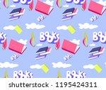 library seamless pattern.... | Shutterstock .eps vector #1195424311