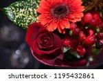 red flowers bouquet | Shutterstock . vector #1195432861