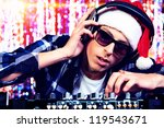 dj man mixing up some christmas ... | Shutterstock . vector #119543671