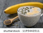 chia seed pudding with banana... | Shutterstock . vector #1195443511
