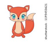 cute fox adorable character | Shutterstock .eps vector #1195453621