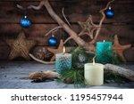 beach scene of christmas... | Shutterstock . vector #1195457944