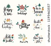 set of christmas greeting badge ... | Shutterstock .eps vector #1195463557
