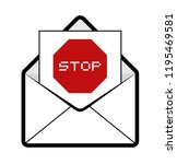 envelope with stop message   Shutterstock .eps vector #1195469581