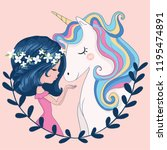 cute girl with unicorn vector... | Shutterstock .eps vector #1195474891