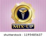 golden badge with caduceus... | Shutterstock .eps vector #1195485637