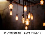 many different vintage light... | Shutterstock . vector #1195496647