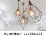 Retro Copper Hanging Lamp With...